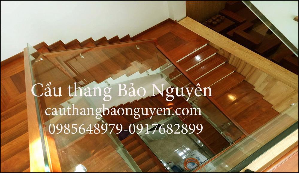 Cầu Thang kính ốp sườn mặt bậc gỗ lim nam phi đẹp M2