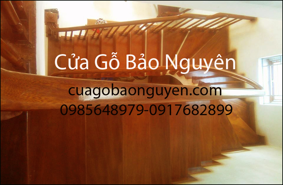 Mẫu cầu thang mặt bậc gỗ lim công gô đẹp M3