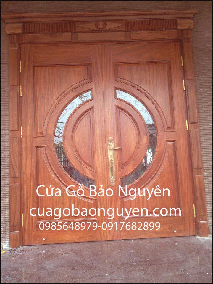 cửa đi 2 cánh gỗ lim nam phi vòm kép kính M2