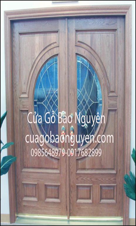 cửa đi gỗ sồi 2 cánh nẹp đắp nổi M11