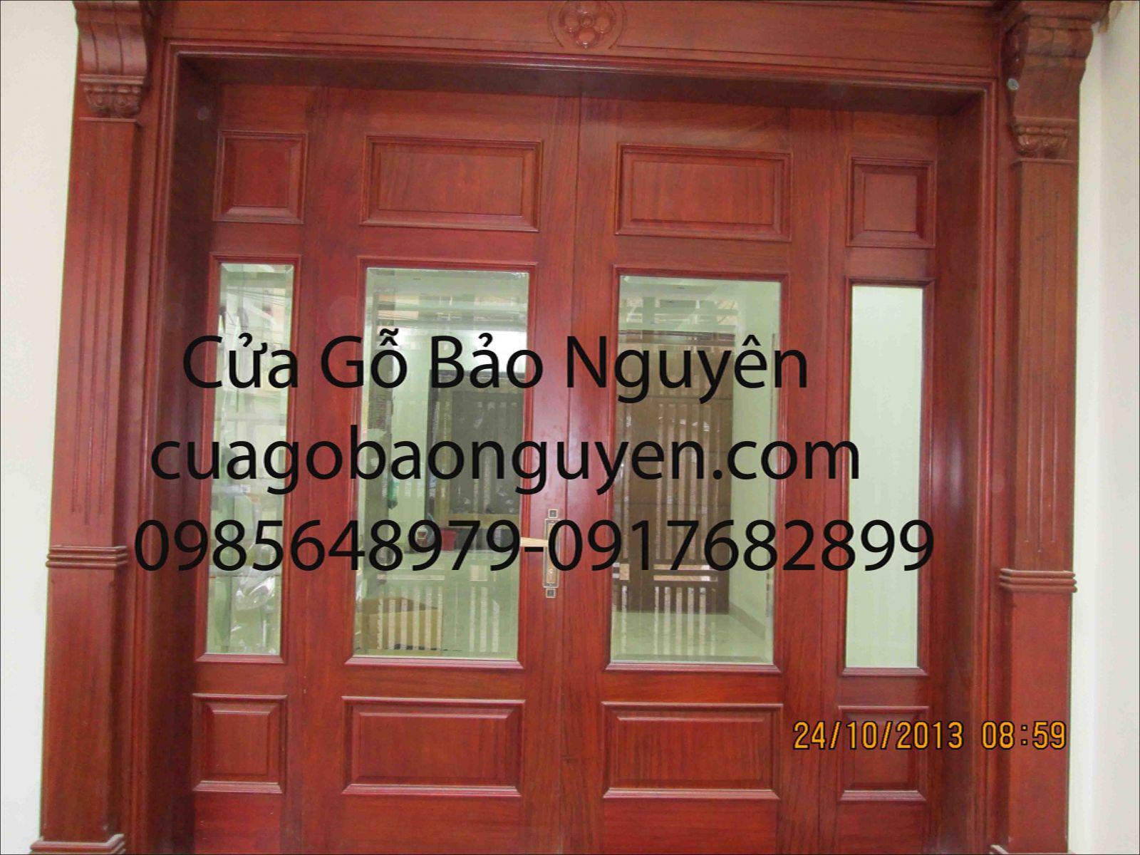 cửa chính 4 cánh gỗ lim nam phi đẹp
