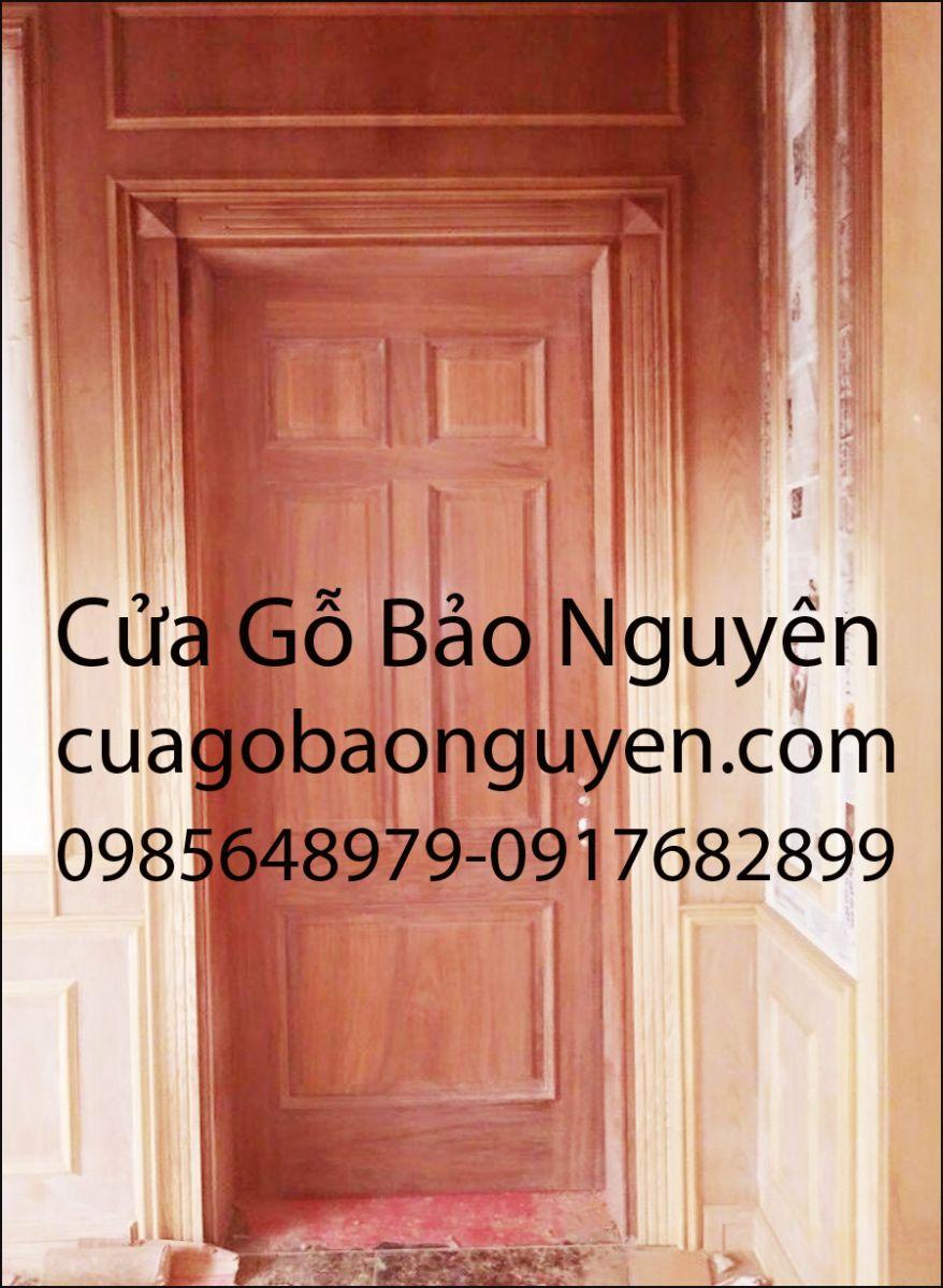 mẫu cửa thông phòng nẹp đắp 5 lá đẹp gỗ lim M16