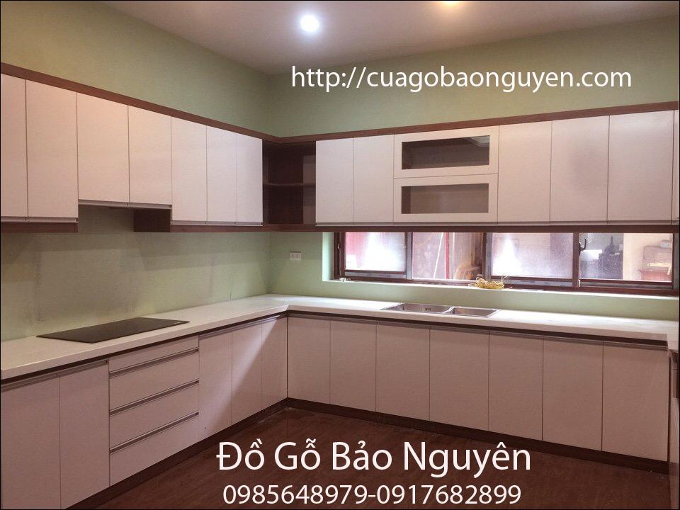 mẫu tủ bếp gỗ cốt xanh chống ẩm an cường M05