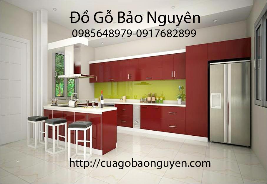 mẫu tủ bếp Acrynic màu đỏ tím sang trong cho ngôi nhà M07