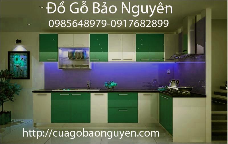 tủ bếp gỗ melamin phối màu đẹp giá rẻ M09
