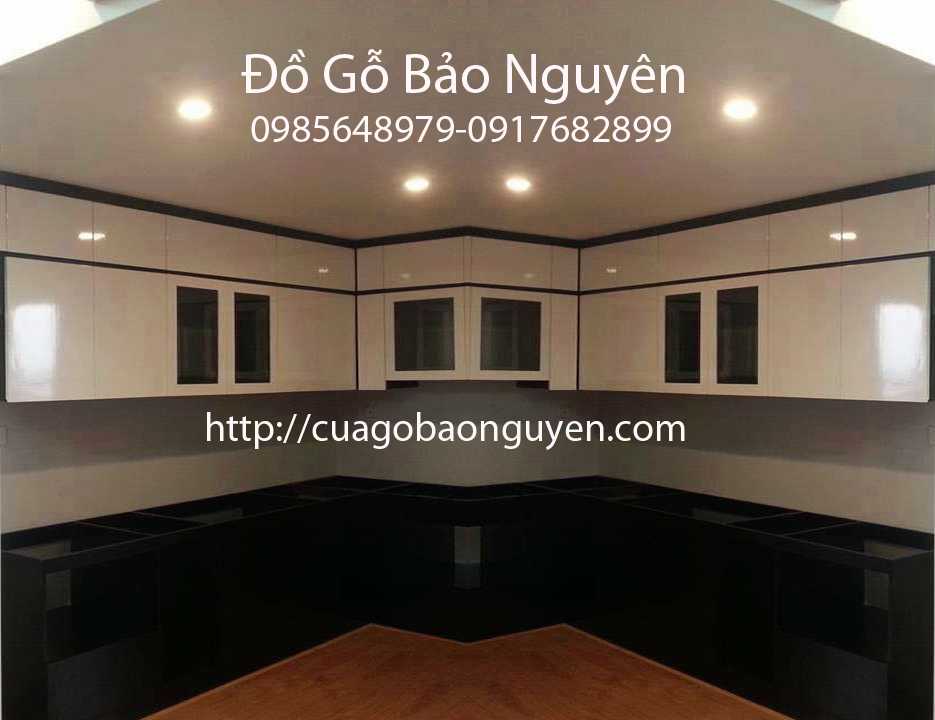 Tủ bếp gỗ MDF công nghiệp chống ẩm an cường phối màu đẹp M11
