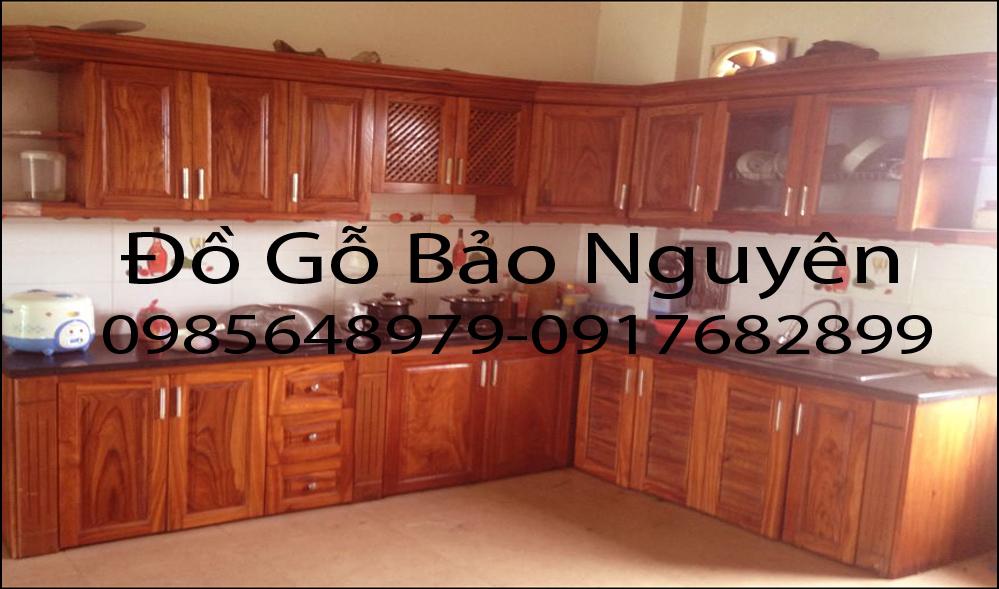 mẫu tủ bếp gỗ xoan đào M1
