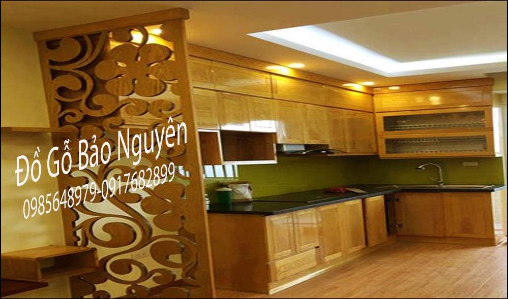 tủ bếp gỗ sồi nga M2