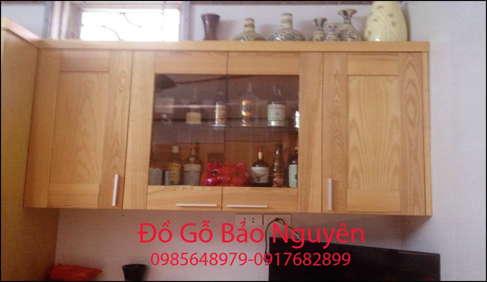tủ bếp gỗ sồi nga đẹp M12