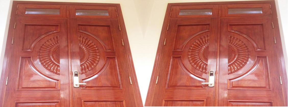 mẫu cửa gỗ lim nam phi vòm quạt đẹp